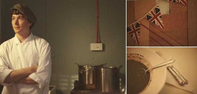 Kitchen, Flags, Nettle gazpacho at the Wild Food Kitchen pop-up restaurant in Hackney. Photos (c) Leonie Wise