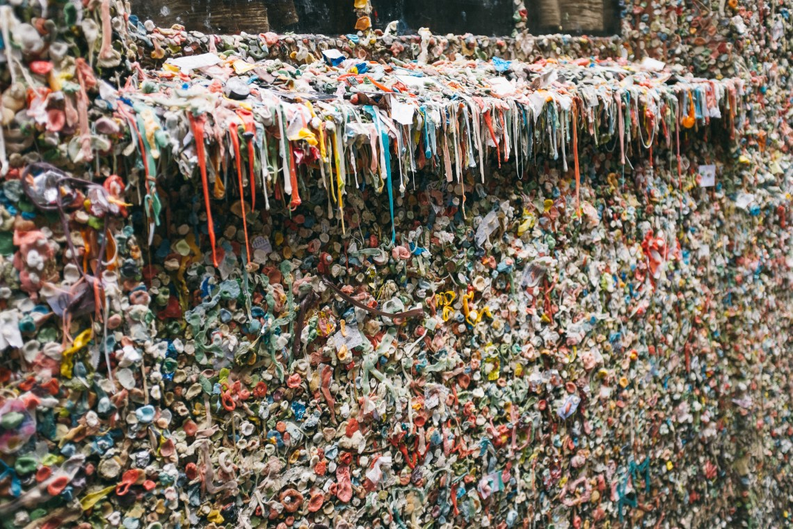 The famous gum wall, Seattle. by Leonie Wise