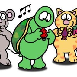 Illustration of cartoon animals playing ocarinas