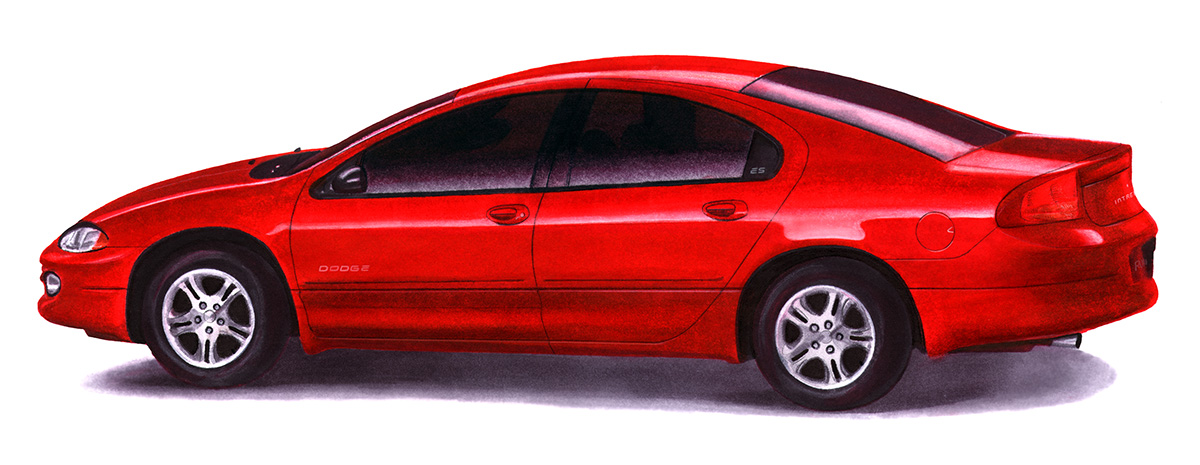 Illustration of a Dodge Intrepid car created with art markers (school project)