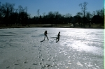 Frozen lake, Bowne Park, 1979