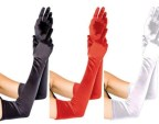 Long Evening Gloves - Black, Red, White