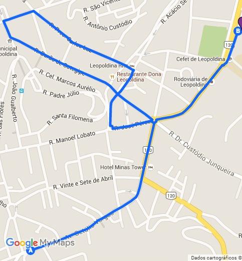 Percurso da Tocha Olímpica pelo centro de Leopoldina, em 16 de maio de 2016