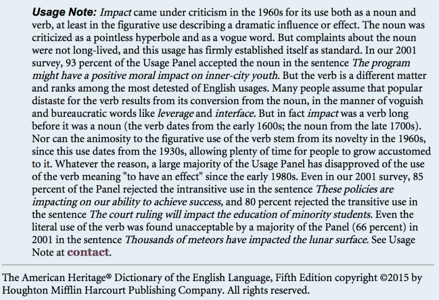 American heritage dictionary usage note on using impact as a verb