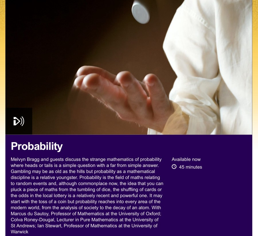 bbc in our time colva roney-dougal probability