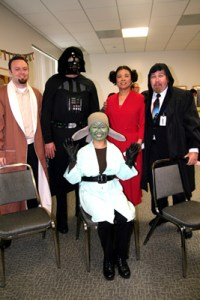 My co-workers say good-bye 'Star Wars' style.