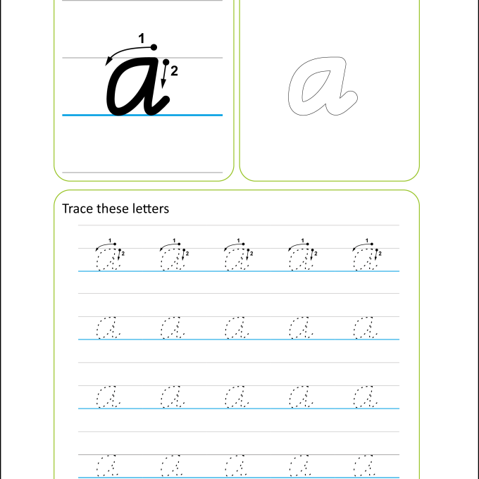 Victorian Modern Cursive Handwriting Worksheet - Letter a Lowercase