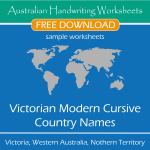 Australian Handwriting Worksheets – Victorian Modern Cursive – Country Names – Free Sample