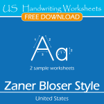 US Handwriting Worksheets – Zaner Bloser Style – Free Sample