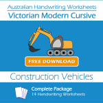 Australian Handwriting Worksheets – Victorian Modern Cursive – Construction Vehicles