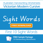 Australian Handwriting Worksheets – Victorian Modern Cursive – Sight Words – Free Sample