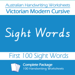 Australian Handwriting Worksheets – Victorian Modern Cursive – First 100 Sight Words