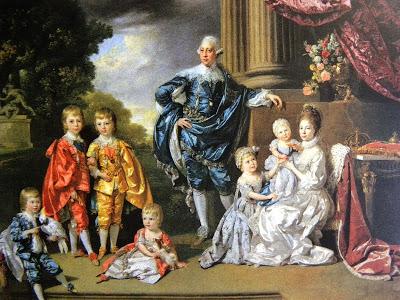 Jorge III e Carolina de Brunsvique com os 6 filhos mais velhos