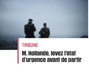 Tribune pétition levez l'état d'urgence leparia