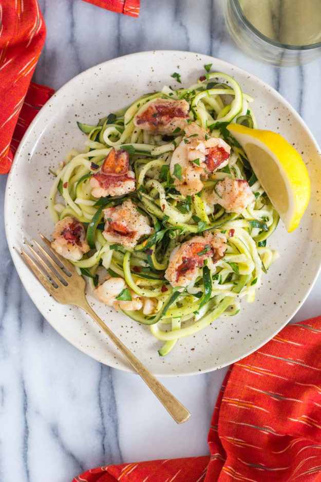 overhead shot of a plate of Zucchini Noodle Lobster Scampi