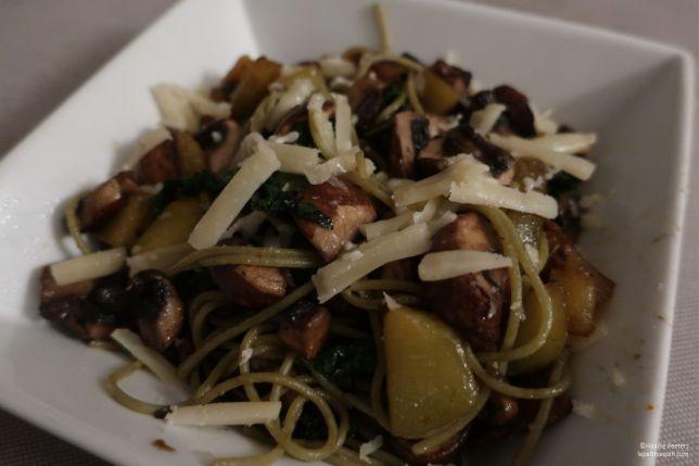 Pasta met pompoen, boerenkool en champignons (Le petit requin)