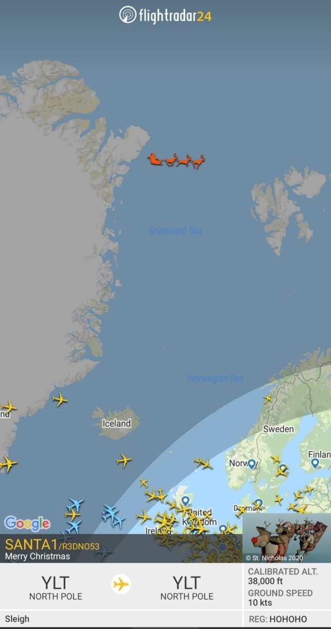 Flight radar kerstman