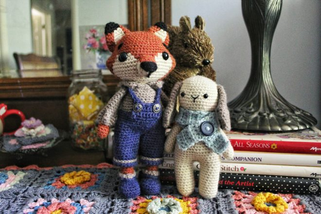 Adorable amigurumi fox and sweet little amigurumi bunny.