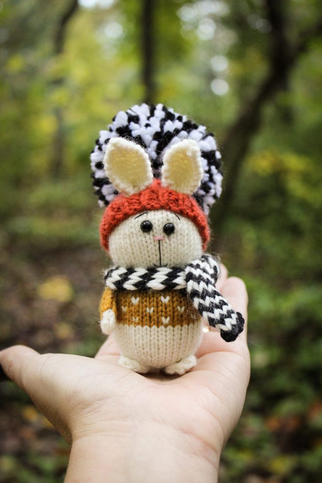 Knitting a bunny on a glamping trip in North Carolina.