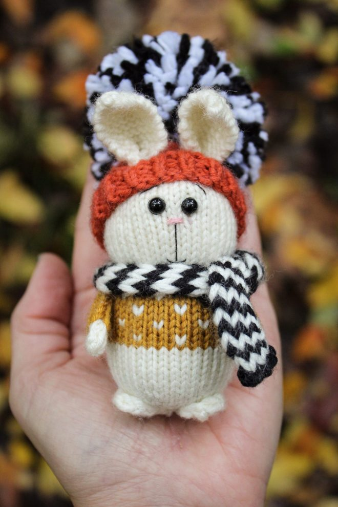 Knitting a bunny in the Great Smoky Mountains.