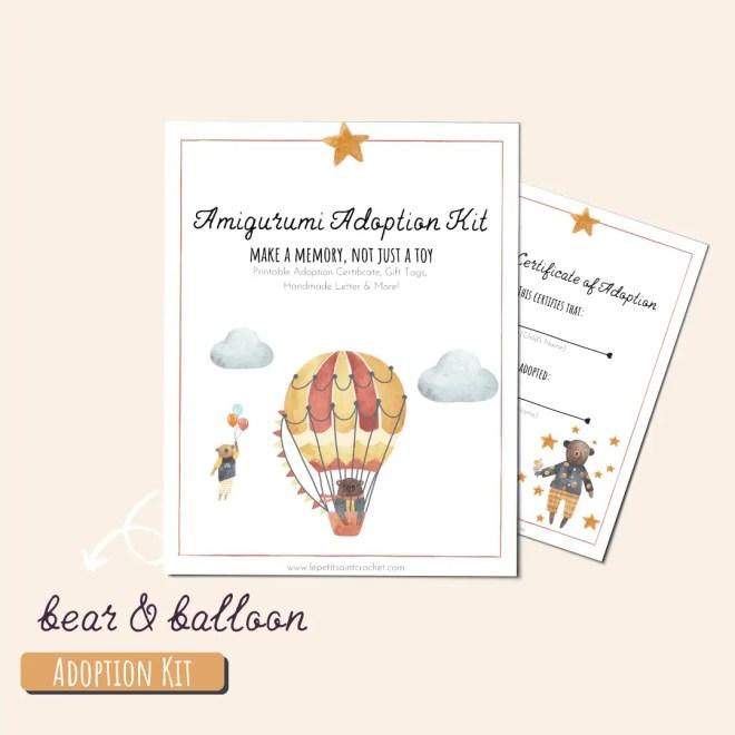 Bear & Balloon Amigurumi Adoption Kit
