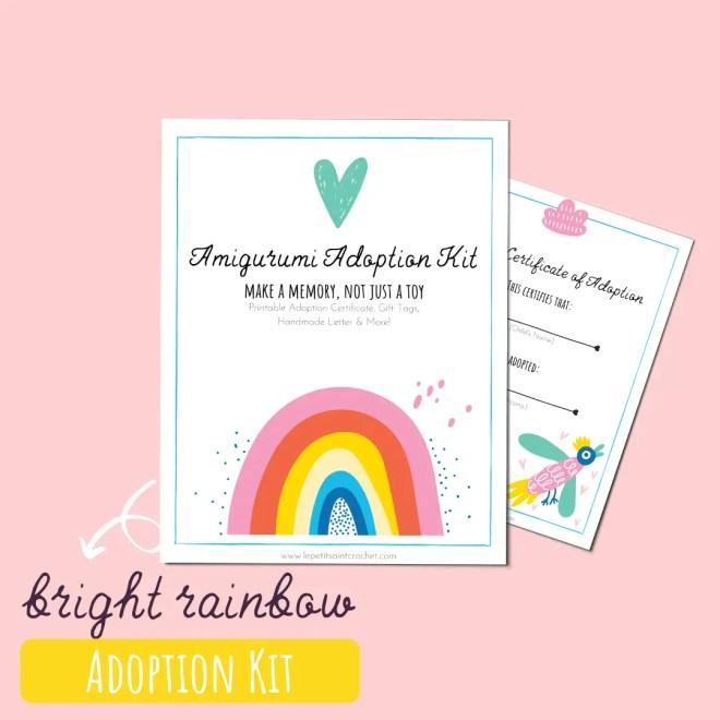 Bright Rainbow Amigurumi Adoption Kit