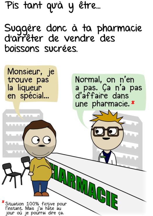 Boissons sucrées en pharmacie