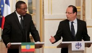 Le premier ministre éthiopien Hailemariam Desalegn et le Président français François Hollande.Ph.Dr