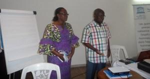 Le président de l'Observatoire de la liberté de la presse de l'éthique et de la déontologie (Olped), Zio Moussa et Mme Diplo Régina du CNP