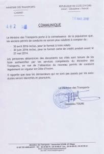 Le fac.Similé du communiqué du ministre Gaoussou Touré