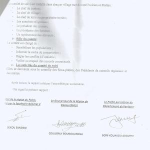 Le document final paraphé par les autorités ivoiriennes et maliennes. Ph. Dr