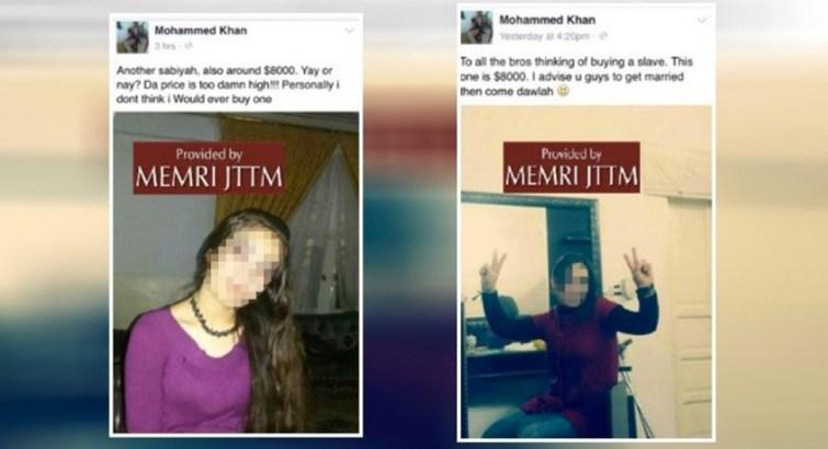 Les annonces pour deux esclaves sexuelles, vendues par Daech sur Facebook