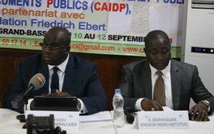 Le secrétaire général de la Caidp gauche et Kouamé Séraphin représentant résident de la Fondation Friedrich Ebert FES