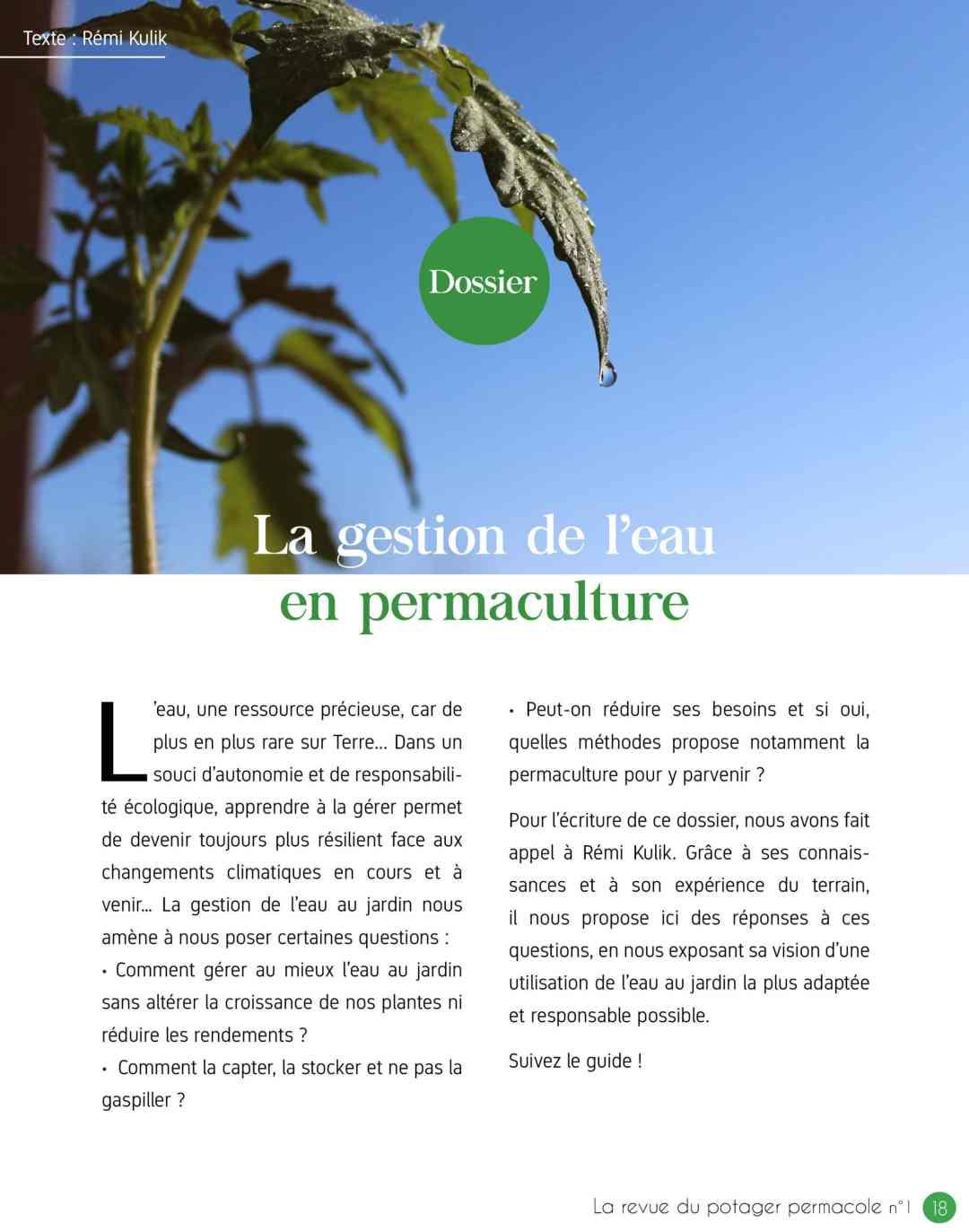 gestion de l'eau permaculture