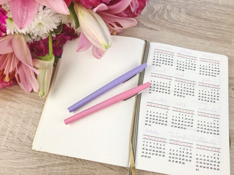 Planning annuel de Bullet Journal.