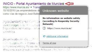 Kaspersky grey icon on Ayuntamiento de Murcia website