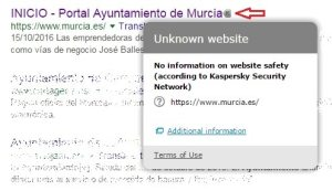 Kaspersky grey icon on Ayuntamiento de Murcia website