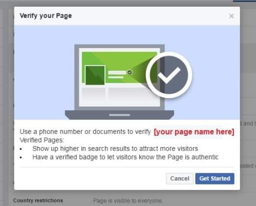 Use a phone number or documents to verify your Facebook Fan Page