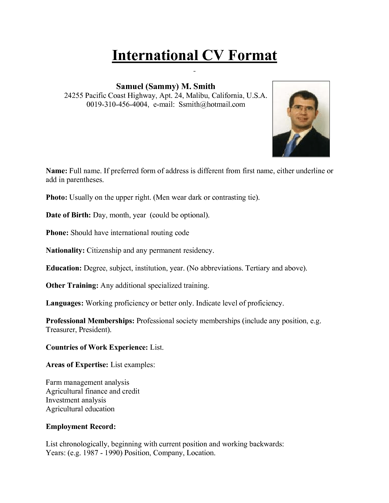 international standard resume format resume format