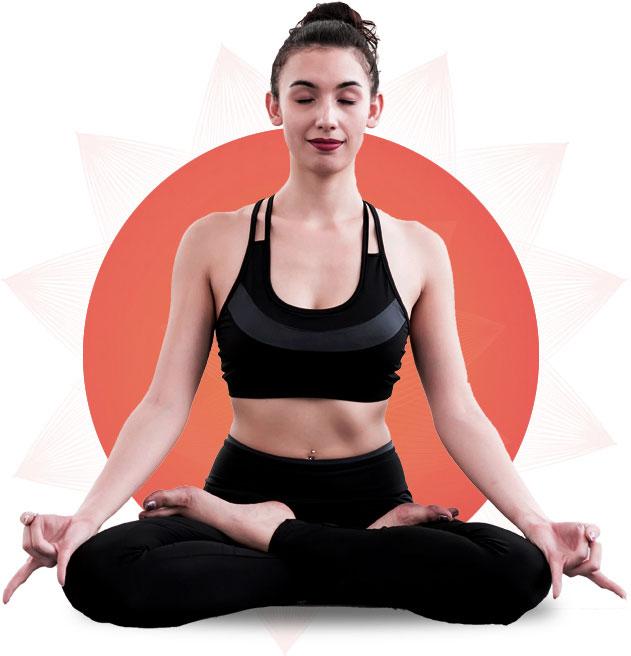 femme qui fait de la méditation devant un rond orangé