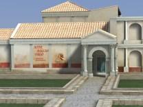 Ricostruzione filologica in Blender del teatro romano con locandina del commediografo Pomponio
