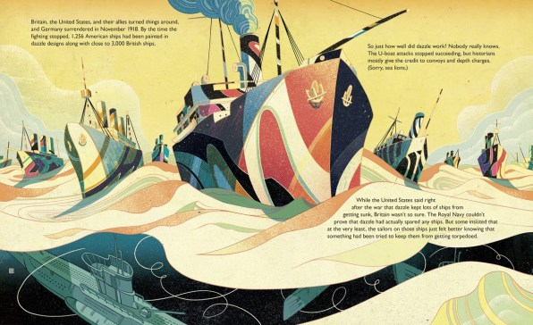 Spread from nonfiction picture book Dazzle Ships by Chris Barton and Victo Ngai