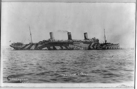 ship with dazzle camouflage