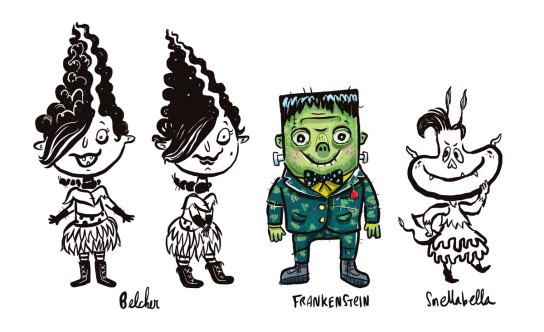 Frankenstein character sketches by Timothy Banks