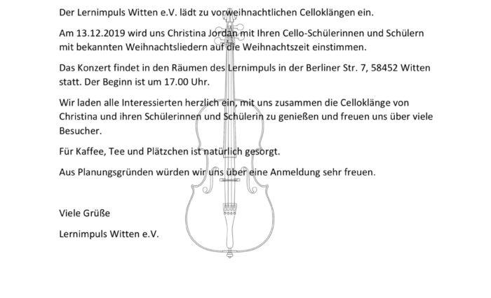 Einladung zum vorweihnachtlichen Cellokonzert