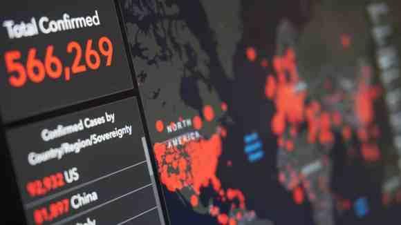 Krisenmanagement  global coronavirus map with country statistics