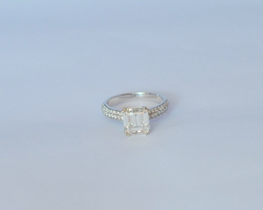 2ct. Emerald Cut Ring with Melee