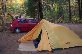 Our VW Golf, and our MEC Tarn 3 tent.