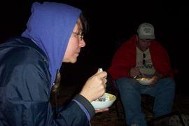 Tracey and Craig eatting apple crisp.