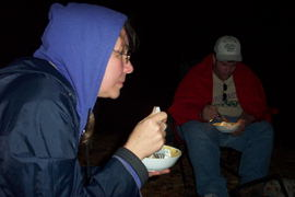 Tracey and Craig eatting apple crisp.